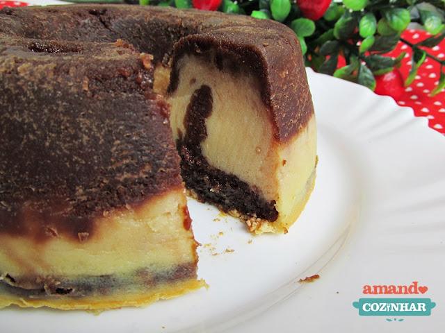 receita brownie cheesecake fácil