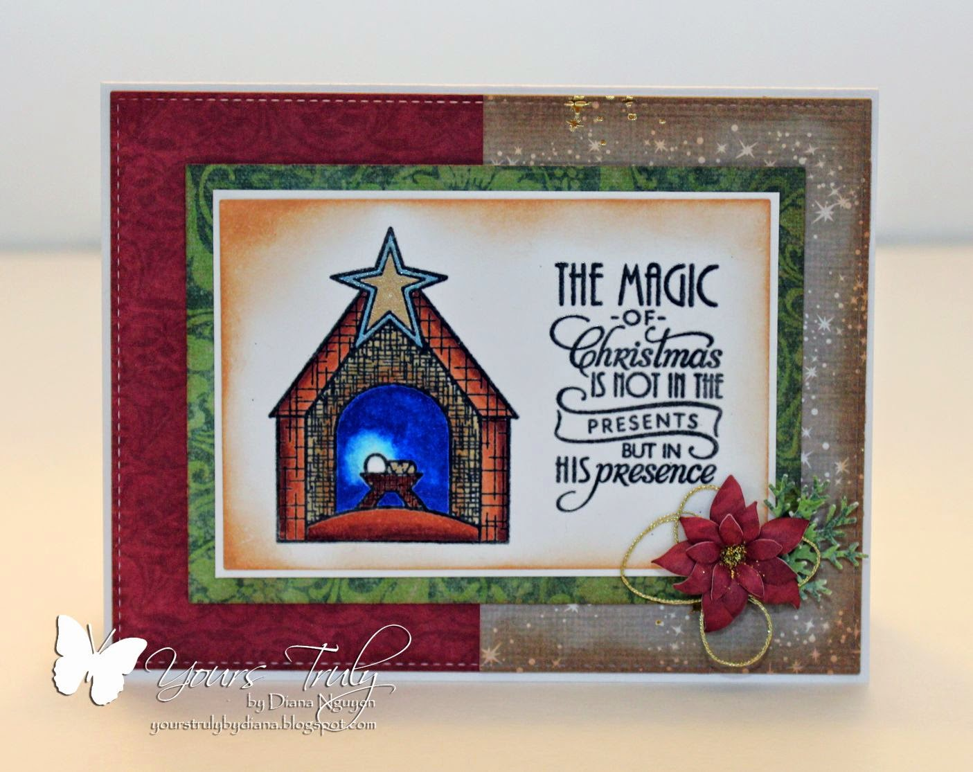 Diana Nguyen, Christmas, Verve, manger, weary world, Peace on Earth, card