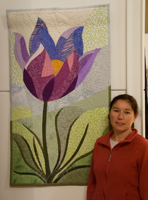 Pasque Flower quilt with author