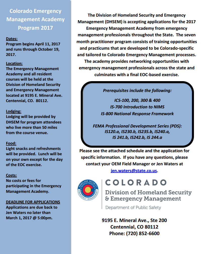 Colorado Emergency Management: Apply Today for the 2017 Colorado