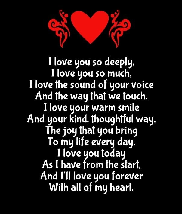 Cute Couple Love Poem I Love You So Deeply