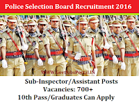 700+ Sub-Inspector/Assistant Posts - State Level Police Recruitment Board  -Recruitment 2016