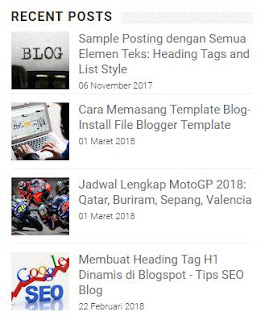 Cara Memasang Posting Terbaru Plus Gambar di Sidebar Blog & Recent Post Per Label