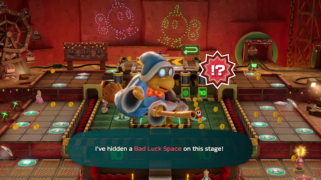Super Mario Party Kamek event bad luck space bowtie Magikoopa