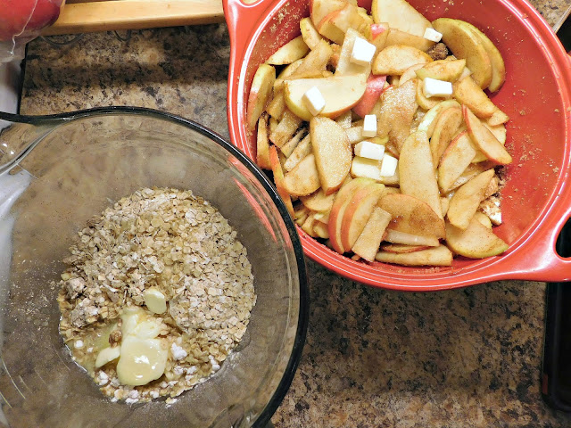 Homemade apple crisp made with instant oatmeal