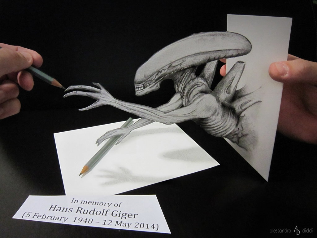 05-HR-Giger-Alien-Alessandro-Diddi-Anamorphic-Optical-Illusions-that-look-like-3D-Drawings-www-designstack-co