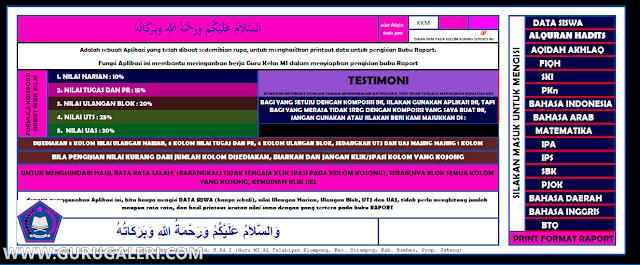 Aplikasi Raport Siswa jenjang Madrasah Ibtidaiyah ( MI ) Kelas 1 - 6 Format Excel