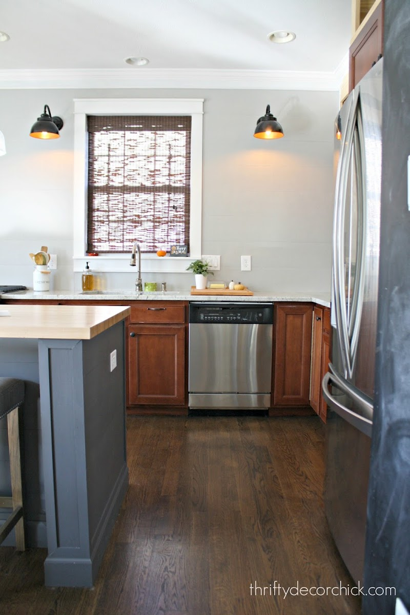 gray planked wall kitchen