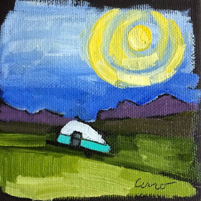 Teardrop trailer painting by Denise Cerro