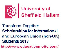 University Sheffield Hallam, Description of the Scholarship, Eligibility Criteria of Scholarship, Application Deadline, Method of Applying, Bachelor and Master Degree,