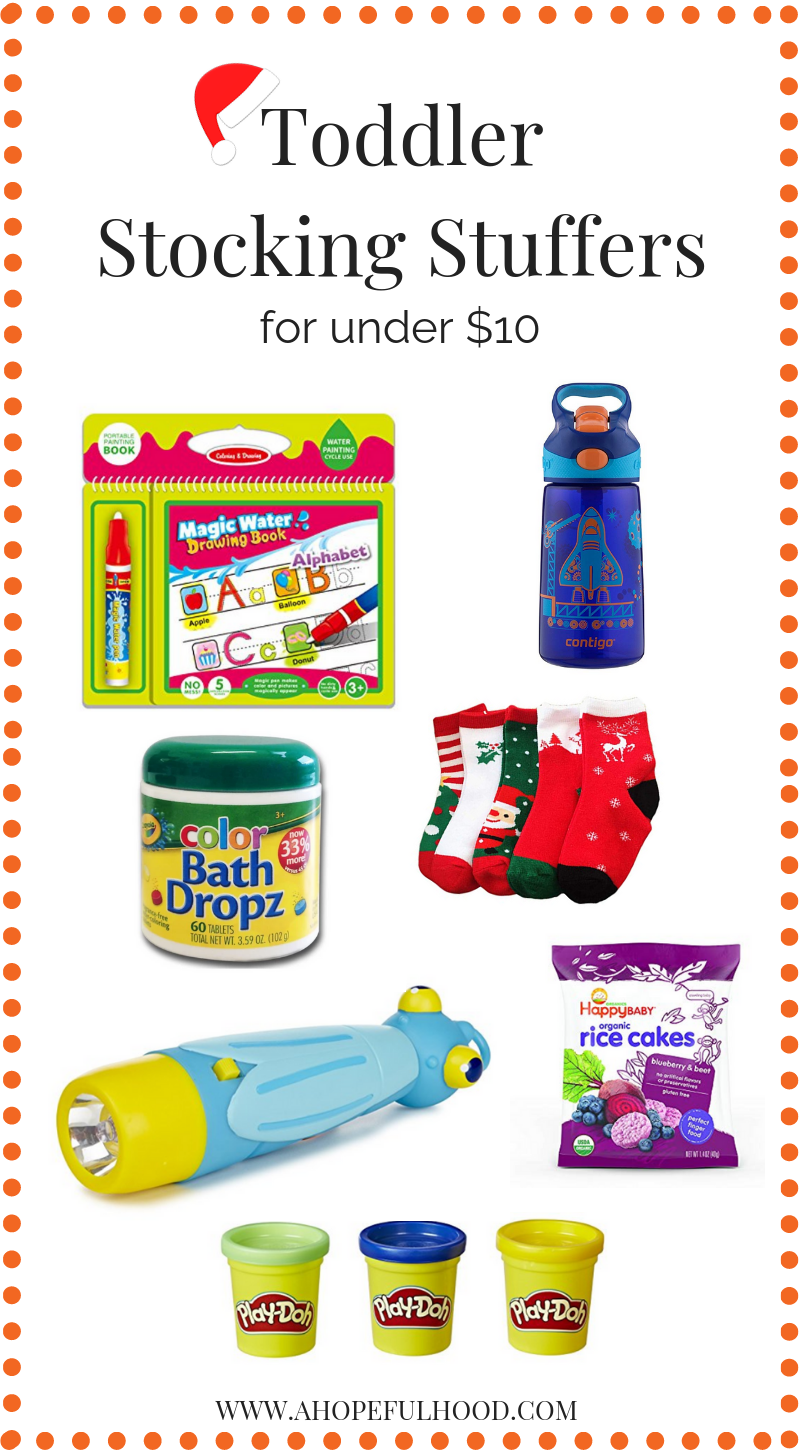 Toddler Stocking Stuffers for less than $10, and won't drive parents crazy! These gifts are all fun AND/OR useful, and toddlers will love them! #toddlers #momlife #Christmas #giftguide