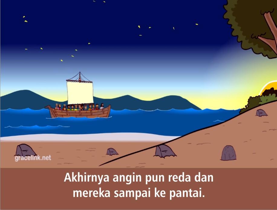 Untuk contoh gambar selengkapnya adalah sebagaimana berikut ini. Komik Alkitab Anak: Tuhan Yesus Berjalan di Atas Air
