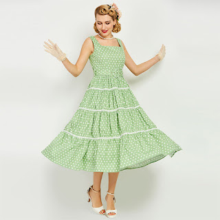 Women's Dress Vintage 1950s Rockabilly Party Green Polka Dots