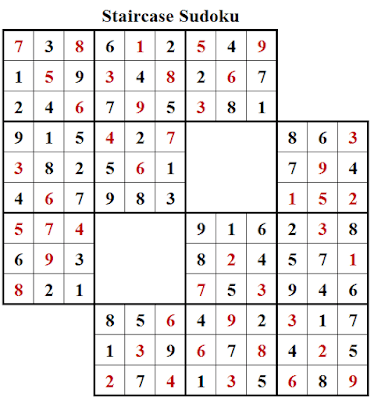 Staircase Sudoku Puzzle (Daily Sudoku League #208) Solution