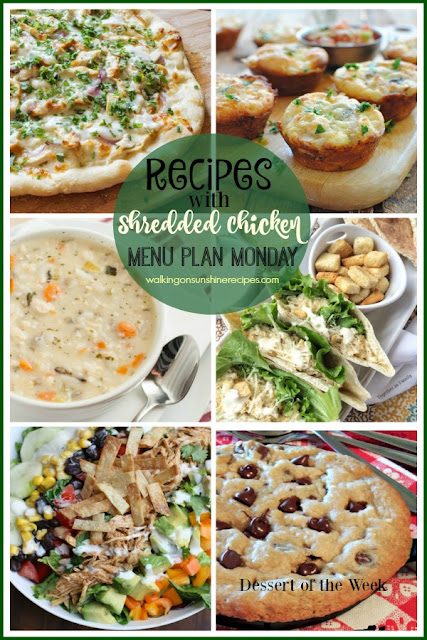 Easy and quick meals to make for dinner tonight all using shredded chicken from Walking on Sunshine Recipes.