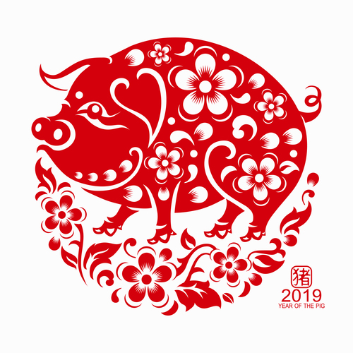 2019 Happy Chinese New Year with Pig paper cutting art vector free vector