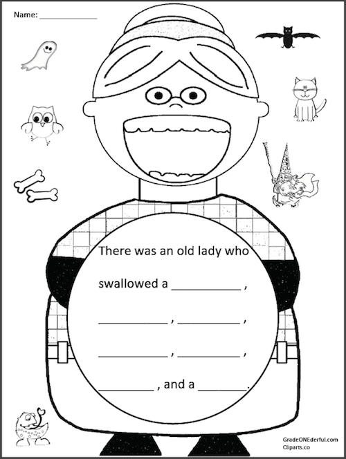 A FREE sequencing printable for The Old Lady Who Swallowed a Bat. #gradeonederful #therewasanoldladywhoswallowedabat #bats #halloween #firstgradewriting