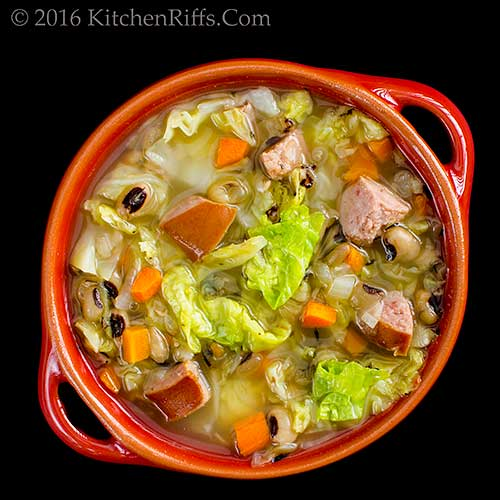 Cabbage, Kielbasa, and Black-Eyed Pea Soup
