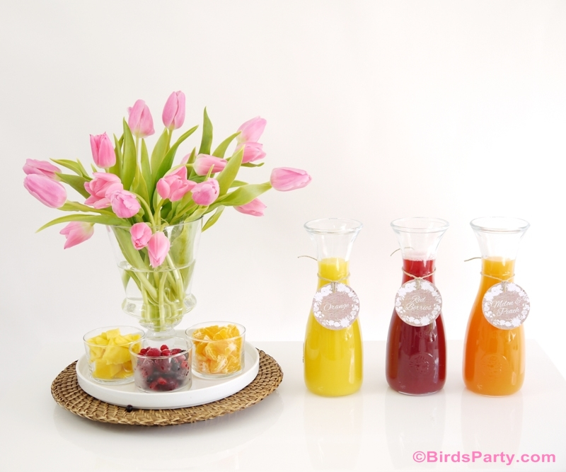 Styling a DIY Mimosa Bar: with Recipes and Free Printables - BirdsParty.com