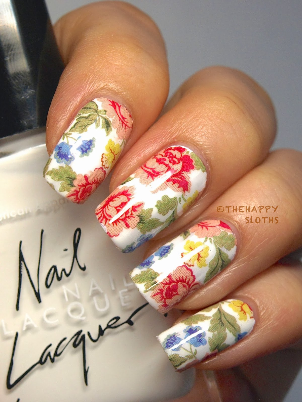 Floral Manicure Featuring Full Nail Water Decals