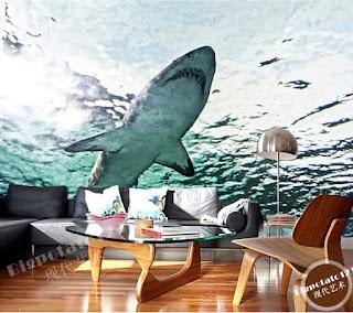 häftig tapet vardagsrum haj 3d fototapet under vattnet hav