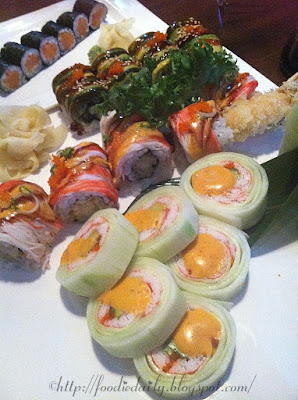 Cucumber Avocado Roll, the Shrimp Tempera Roll, the Dragon Roll, and the Smoked Salmon Roll