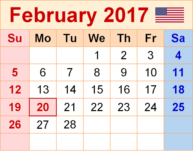 February 2017 Calendar, February Calendar 2017, February 2017 Printable Calendar, February 2017 calendar Printable, February 2017 Blank Calendar, February 2017 Calendar with Holiday