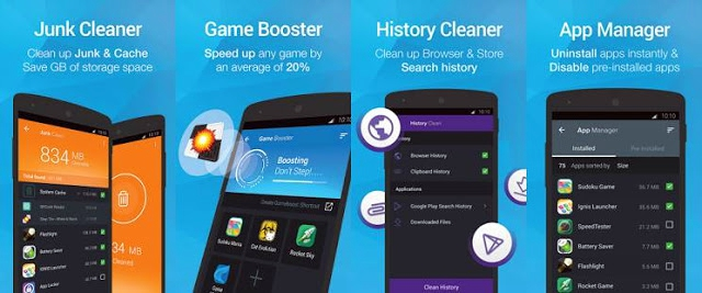 It is a powerful Android cleaner & speed booster application which include features such as junk (cache) cleaner, memory booster, game speed booster, search history & phone call/SMS history eraser, installed/pre-installed app manager.