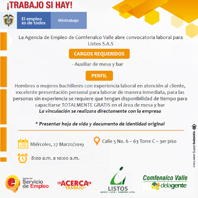 Convocatoria Auxiliar de Mesa y Bar en Bogota