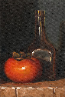 Oil painting of a persimmon beside a small glass bottle.