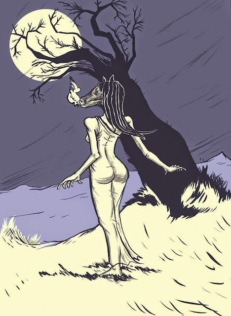 Siguanaba, seductive succubus with face of a horse, under the moonlight, next to a tree