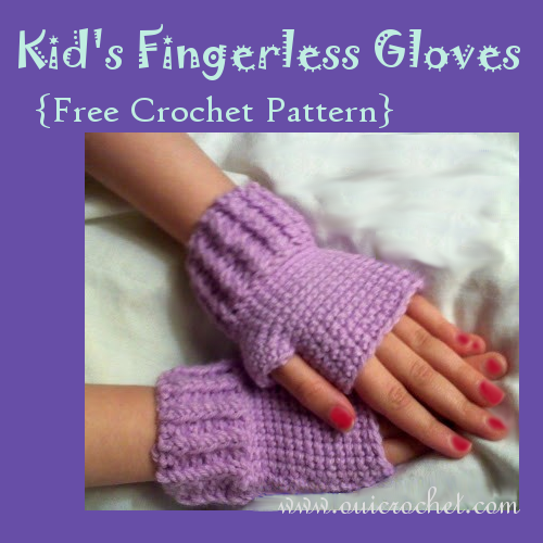 Crochet, Free Crochet Pattern, Kid's Fingerless Gloves Crochet Pattern,