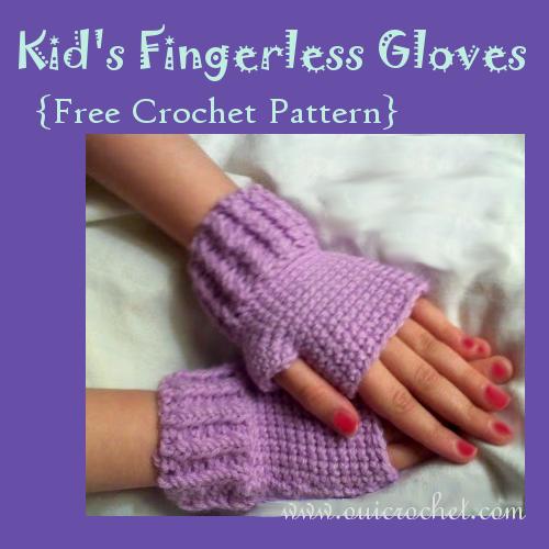 Crochet, Free Crochet Pattern, Kid's Fingerless Gloves Crochet Pattern,