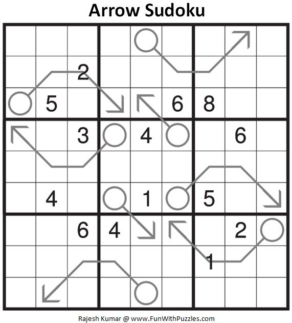 Arrow Sudoku Puzzle (Fun With Sudoku #347)