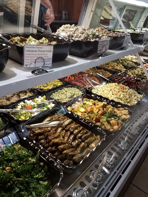 The daily spread of Lebanese food is great at Sassool. Fresh and Healthy