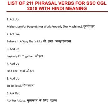 List Of 211 Phrasal Verb With Hindi Meaning Pdf Download Notespdf