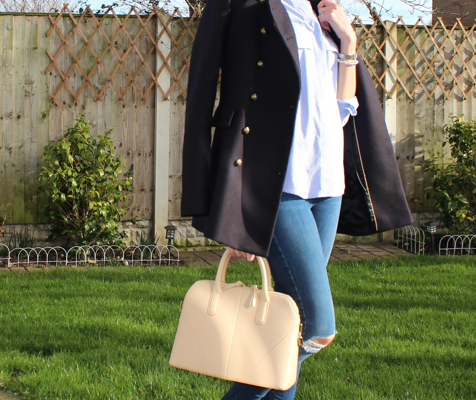 Military style navy blue peacoat with brass buttons from Zara