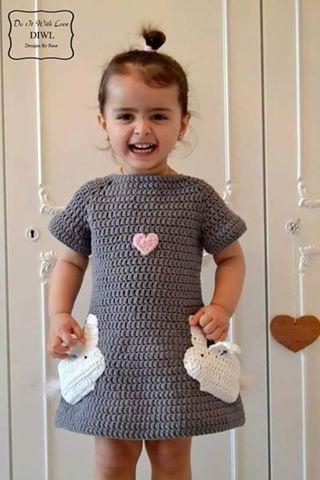 Patrón #1621: Vestidos Niña a Crochet