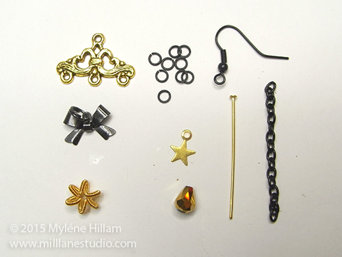 Black and gold jewellery findings needed for making stylised Christmas Tree earrings
