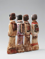 Set of archer figurines, unearthed from the Tomb of the King of Chu, Beidong Mountain, Xuzhou, Jiangsu. Western Han period (206 BCE–9 CE), 2nd century BCE. Painted earthenware. Xuzhou Museum [Credit © Xuzhou Museum]