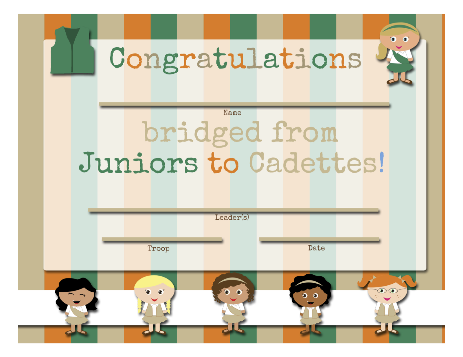 Printable Bridging To Juniors Certificate