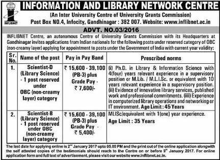 INFLIBNET Centre Recruitment 2017 for Scientist Posts