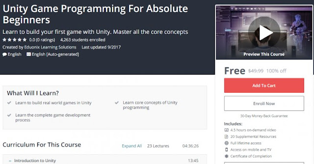 [100% Off] Unity Game Programming For Absolute Beginners| Worth 49,99$