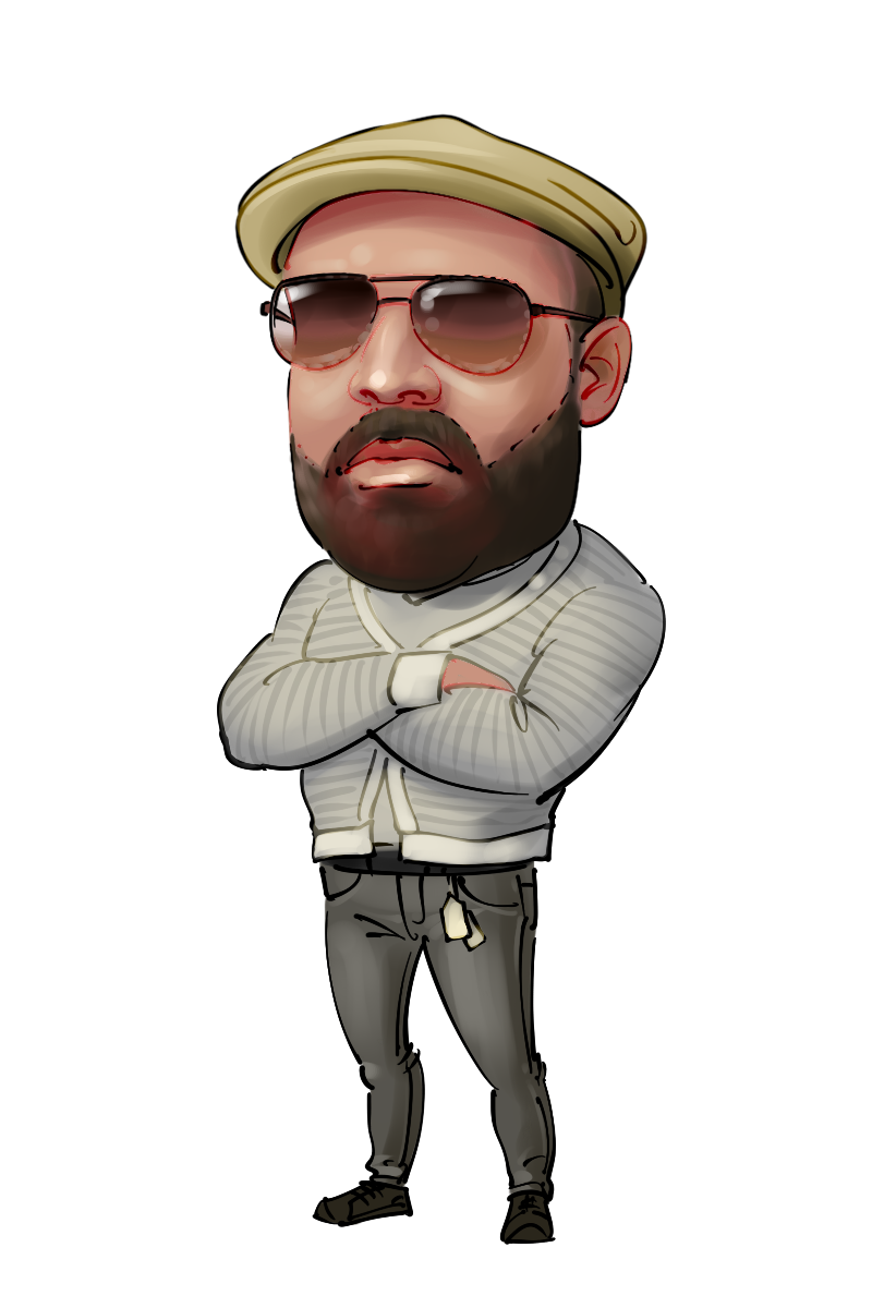caricature from photo man in golf cap and sunglasses