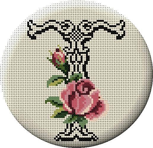 Alfabeto Monograma Com Rosas e Arabescos Em Ponto Cruz 45