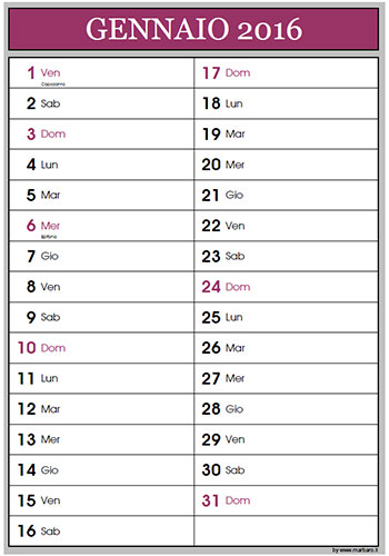 Calendario Da Scaricare.Calendario 2016 Per Appunti Da Scaricare E Stampare