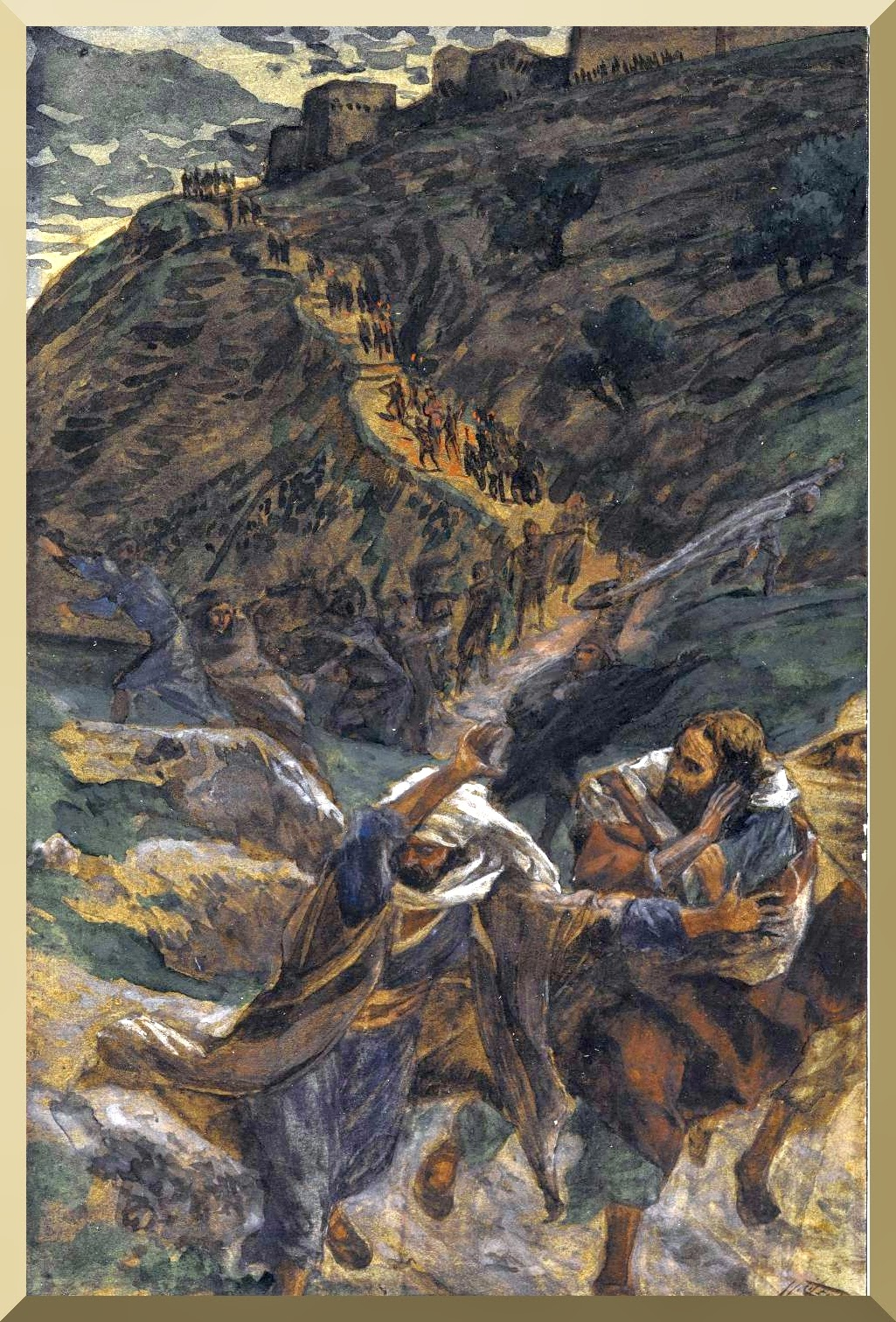 """The Flight of the Apostles"" -- by James Tissot"