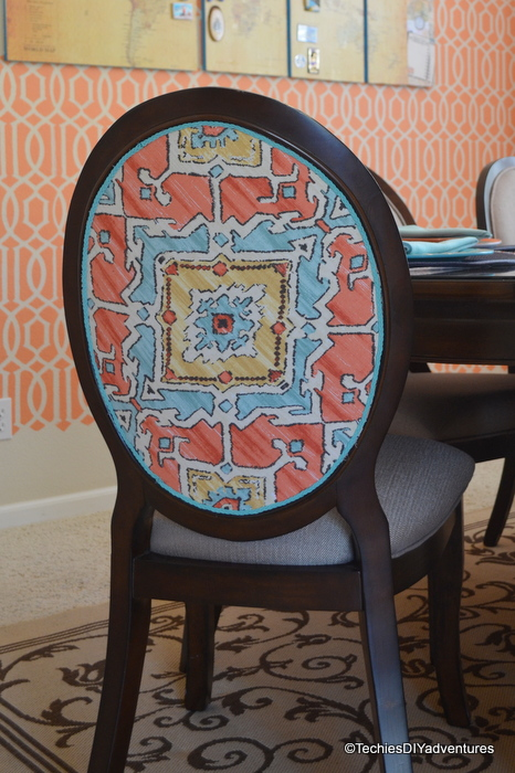Dining Chair Makeover with Fabric