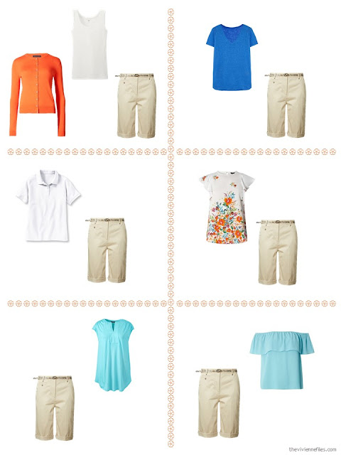 six ways to style tan shorts with orange, aqua or blue