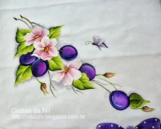 pintura de flores silvestres e ameixas